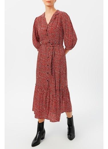 Random Kadın Truvakar Kol Belden Bağlamalı Desenli Elbise  Kahve